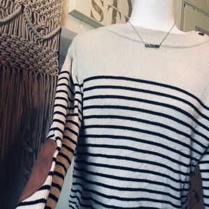 Forever 21 striped sweater padded elbow material